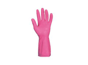 Unsupported latex gloves with inner cotton flock lining